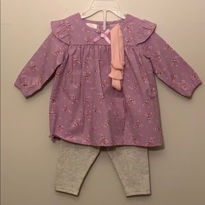 Infant Blouse with pants and matching headband